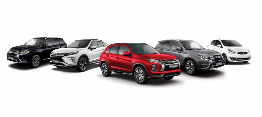 La gamme Mitsubishi comportant cinq modèles de VUS et autos